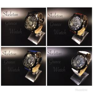 腕時計 メンズ  ステンレススチール     高品質 レザー 革 ベルト アナログ クォーツ ビジネス ウォッチ  ギリシャ文字  時計  人気ブランド  4Color|t-a