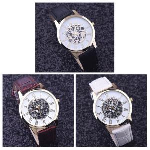 腕時計 メンズ  高品質 レザー 革 ベルト ビジネス ウォッチ 軽量 オシャレ ギリシャ文字 時計  人気ブランド ブラック ブラウン ホワイト3Color|t-a