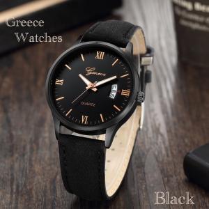 腕時計 時計 ギリシャ文字 スエード レザーベルト ビンテージ アナログ カレンダー メンズ クォーツ 時計  オシャレ ウォッチ ブラック|t-a