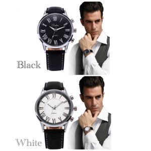 腕時計 メンズ  高品質 レザー 革 ベルト ビジネス アナログ クォーツ ウォッチ  ギリシャ文字 2 時計 人気ブランド ブラック ホワイト |t-a