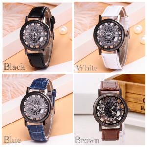 腕時計 ギリシャ文字 時計 アナログ メンズ クォーツ レザーベルト ファッション時計 ウォッチ ブラック ブラウン ブルー ホワイト|t-a