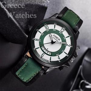 腕時計 文字 ツートン アナログ メンズ クォーツ 時計 高品質 レザー ファッション時計 オシャレ ウォッチ ブラックグリーン|t-a