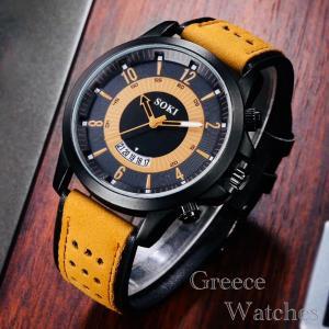 腕時計  ツートン アナログ メンズ クォーツ 時計 高品質 レザー ファッション時計 オシャレ ウォッチ ブラックイエロー|t-a