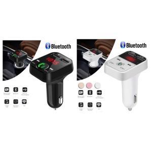 Bluetooth FMトランスミッター 音楽再生 USB 充電器 二台同時充電 ハンズフリースマホ iPhone アンドロイド SDカード ブラック ホワイト|t-a