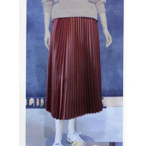 BLUE FRONCE / リブニット使い サテンプリーツスカート|t-blueberry
