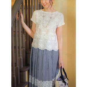ギャラリー ビスコンティ /  綿ブロードストライプ・レース飾り スカート |t-blueberry