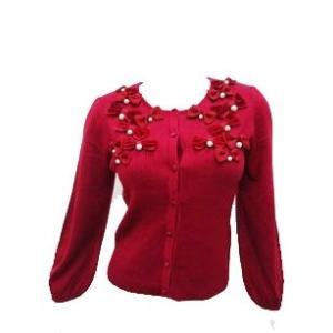 ギャラリービスコンティ / 別珍リボン・グログラン&コットンパール飾り ニットカーディガン|t-blueberry