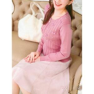 ギャラリー ビスコンティ / スェードダンボールニット リボン飾りスカート|t-blueberry