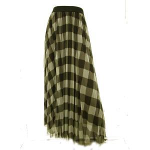 C'EST MOIJEU セモアージュ / ブロックチェック柄チュール&ブラウンチュール重ね使いスカート  t-blueberry