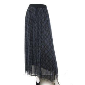 C'EST MOIJEU セモアージュ / タータンチェック&ブラックチュール重ね使いスカート  t-blueberry