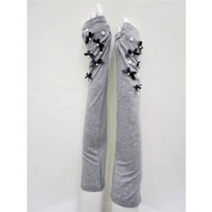 ギャラリー ビスコンティ / 【最終プライス 】ドット柄・パール飾りUVロング手袋(指なし) t-blueberry