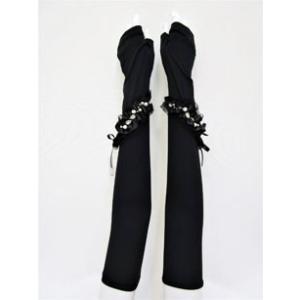 ギャラリー ビスコンティ / 【最終プライス 】チュールリボン&パール飾りUVロング手袋 t-blueberry