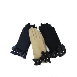 ギャラリー ビスコンティ / コットンパール飾りフリル手袋 t-blueberry