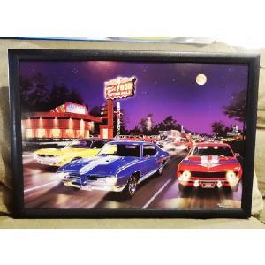 LEDピクチャーフレーム(1031)/照明電気壁掛け写真風景アメ車DINERインテリア光る絵画50's60's|t-bravo