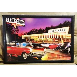 LEDピクチャーフレーム(1062)/照明電気壁掛け写真風景アメ車DINERインテリア光る絵画50's60's|t-bravo