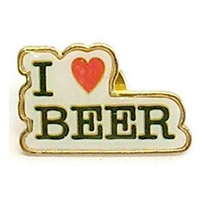 ピンバッヂ I LOVE BEER / ビール ピンバッジ 面白 おもしろ アメリカン雑貨|t-bravo