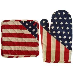 USAフラッグ ミトンセット/ メール便可 /フラッグキッチンセット鍋つかみミトン星条旗アメリカ国旗 アメリカン雑貨 t-bravo