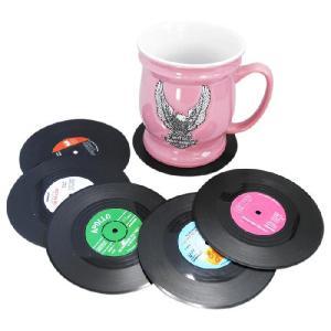 レコードコースター6Pセット/ メール便可 /面白おもしろ音楽ミュージック食卓卓上グッズレコードレコーダー|t-bravo