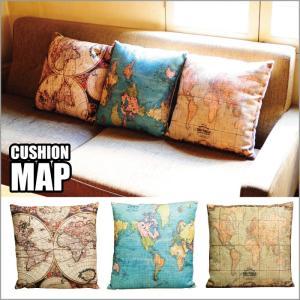 2K-362 クッション マップ/地図 世界 インテリア 枕 リビング 装飾 おしゃれ|t-bravo