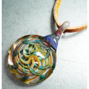 ボロシリケイト ガラスペンダントトップ (2) ■ ハンドメイド アクセサリー ネックレス|t-bravo