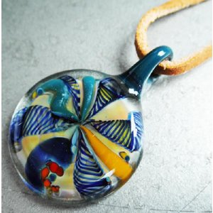 ボロシリケイト ガラスペンダントトップ (3) ■ ハンドメイド アクセサリー ネックレス|t-bravo