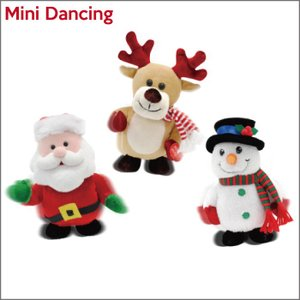ミニダンシング/トナカイサンタ雪だるまXmasChristmas動く踊る音楽メロディー人形 t-bravo