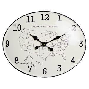 時計 オーバルアイアンプレートクロック USA (39×49cm) [1J-175] ■ 壁掛け アメリカ 地図 マップ おしゃれ アメリカン雑貨|t-bravo
