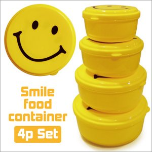 スマイル フードコンテナ 4Pセット/smileタッパお弁当箱イエロー黄色容器|t-bravo