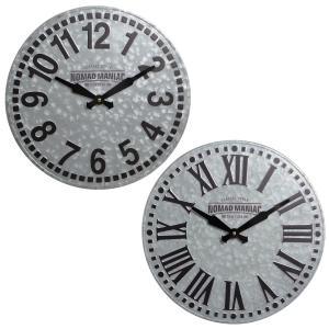 時計 ウォールクロック ノマディックスタイル 40cm [1J-176] ■ 壁掛け スチール アラビア数字 ローマ数字 おしゃれ アメリカン雑貨|t-bravo