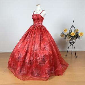 新作 カラードレス 和柄 花柄 ロングドレス/7号・9号・11号・13号/ レッド 赤系 結婚式 演奏会用 0505r|t-bright