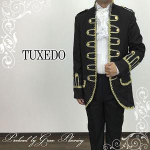 タキシード 2点セット コスプレジャケットスーツ ブラック/黒 紳士服  手品 舞台衣装  ステージ衣装 二次会 カラオケ Lサイズ 即納/11701bk|t-bright