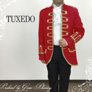 タキシード 2点セット レッド コスプレジャケットスーツ 紳士服  手品 舞台衣装  ステージ衣装 二次会 カラオケ 即納/11701r|t-bright