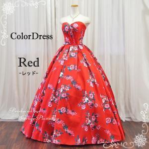 カラードレス 花柄ロングドレス7号・9号・11号・13号 演奏会ドレス  レッド 赤 二次会 花嫁 声楽発表会に人気 13055r|t-bright