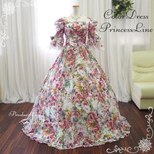 カラードレス9号 11号 ロングドレス プリンセスライン 舞台衣装 姫系 ステージ衣装 花柄 ピンク系 袖付き お姫様ドレス  個性的 Mサイズ /即納・安い/15016|t-bright