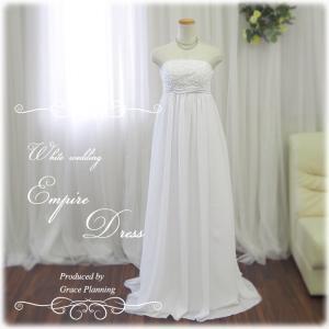 ウエディングドレス 人気 エンパイアライン マタニティ ウェディング ドレス 5号・7号・9号・11号 2次会 オフホワイト白 g2386ow|t-bright