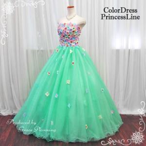 カラードレス 演奏会用ロングドレス ウェディングドレス ライトグリーン 緑系 7号 9号 結婚式 フォトウェディング3366mg|t-bright