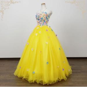 今だけ値下げ  カラードレス 演奏会用ロングドレス イエロー 黄色 5号・7号・9号 結婚式 ウエディングドレス 3366y|t-bright
