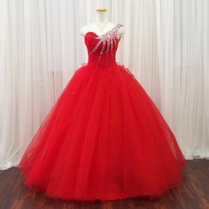カラードレス ロングドレス 個性的 舞台衣装/11号・13号・即納/プリンセスライン レッド 赤 ステージ衣装 二次会キラキラ ラインストーン/37017r|t-bright