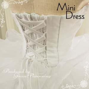 ウェディングドレス ミニ 二次会 人気 ウエディングドレス 安い オフホワイト 結婚式 ショート丈 ウエディングドレス 54317|t-bright|03