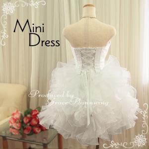ウェディングドレス ミニ 二次会 人気 ウエディングドレス 安い オフホワイト 結婚式 ショート丈 ウエディングドレス 54317|t-bright|05