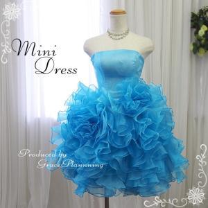 カラードレス ミニドレス 水色 アイスブルー 花嫁 大人 二次会 ウエディングドレス パーティ 54317bl|t-bright