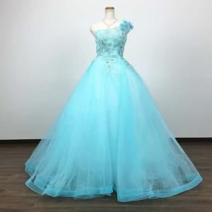 カラードレス トレーン ロングドレス 9号 アイスブルー 即納/プリンセスライン ウエディングドレス 結婚式  花嫁/80895cd|t-bright