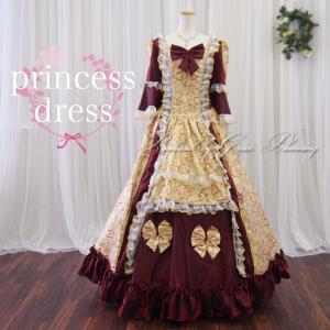 カラードレス お姫様ドレス 中世貴族風 11号・13号/舞台衣装 コスプレ ステージ オペラ   ワインレッド×ゴールf11252-2|t-bright