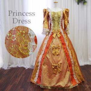 カラードレス お姫様ドレス 7号・9号・11号・13号・ロングドレス 中世貴族風 イベント コスプレ 声楽 オペラ 舞台・ステージ衣装 オレンジ×ゴールド /f12111|t-bright