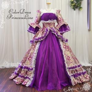 貴族風ドレス カラードレス 9号・11号 中世貴族風 お姫様ドレス 袖付 ロング プリンセスライン オペラ 声楽 パープル系 紫 Mサイズ /f13374m|t-bright