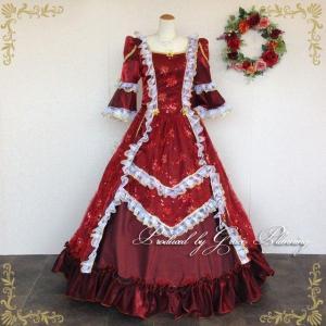 カラードレス ロング 中世貴族風 お姫様ドレス 舞台衣装 ステージ衣装 ミュージカル 声楽 コスプレ ワインレッド系 11号・13号/f13893