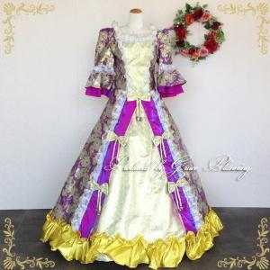 カラードレス お姫様ドレス13号 ロングドレス プリンセスライン 中世貴族風 オペラ ステージ舞台衣装 声楽  ゴールド×パープル /f14382 t-bright