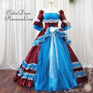 中世貴族風ドレス オペラ舞台衣装 カラードレス  お姫様 ロング プリンセス 演劇 ステージ衣装  ワインレッド×ブルー 袖付 Mサイズ 7号・9号/f22101|t-bright