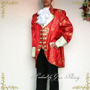 在庫処分 タキシード レッド系  3点セット 紳士服 貴族風 王子様 舞台衣装 ステージ衣装 二次会 花婿 Lサイズ/g2110|t-bright