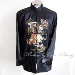 チャイナ服 メンズ S・M・XL XXLサイズ ブラック 黒 コスプレ 太極拳 紳士用カンフー服 武術衣装 ダンス/g2118|t-bright